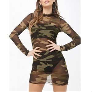 Sheer Camouflage Mini Dress